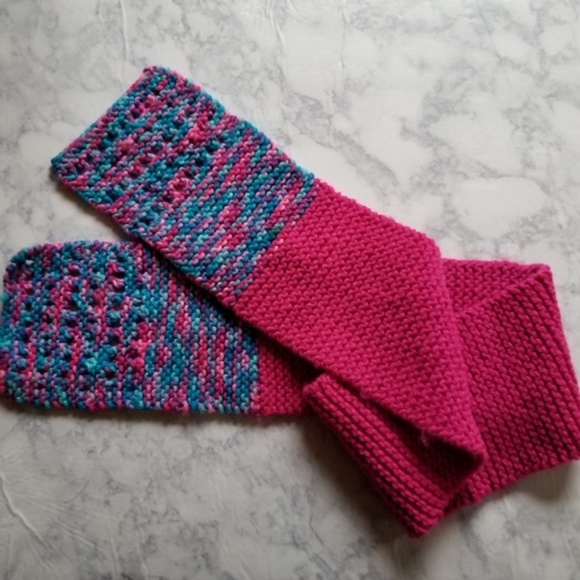 Accessories - Handmade Scarf Pink Purple Blue Short Knit Knitted